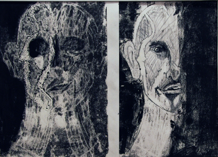 Mr. Saunders, prisoner; monoprint